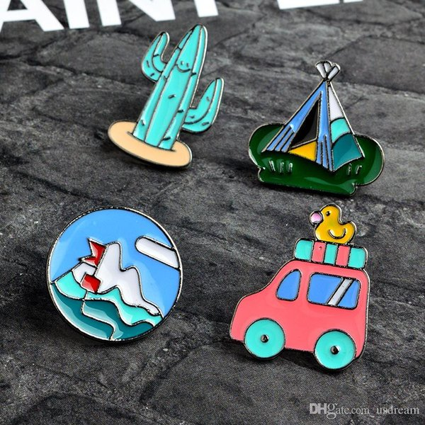 Camping Scenery Cactus tent Car Brooch Pins Lapel Pins Badge Fashion Jewelry for Women Men Kids Christmas Gift Drop Ship 370074