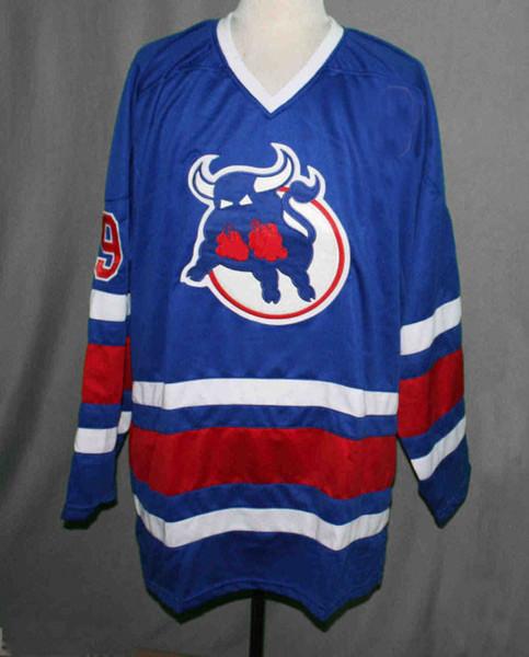 Birmingham Bulls # 9 MICHEL GOULET RETRO Hockey Jersey Stickerei genäht Passen Sie eine beliebige Anzahl und Namen