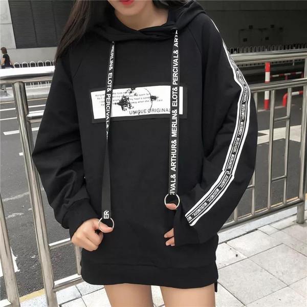 Hoodies mulheres Moletons casuais bangtan meninos coreano Moletom Com Capuz camisola preta queda Roupas plus size mulher