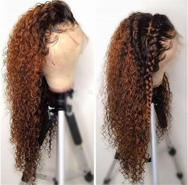 Pelucas llenas del pelo humano del cordón rubio de Omber # 1B # 30 Brasileño no Remy Ombre Kinky Rizado del cordón del pelo humano del frente con el pelo del bebé