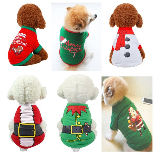 Christmas Pullover Hoodies Dog Clothes New Pet Dog Cat Costume Shirt Sweater For Santa Snowman Belt Casual Clothes 7 Colors HH7-1742