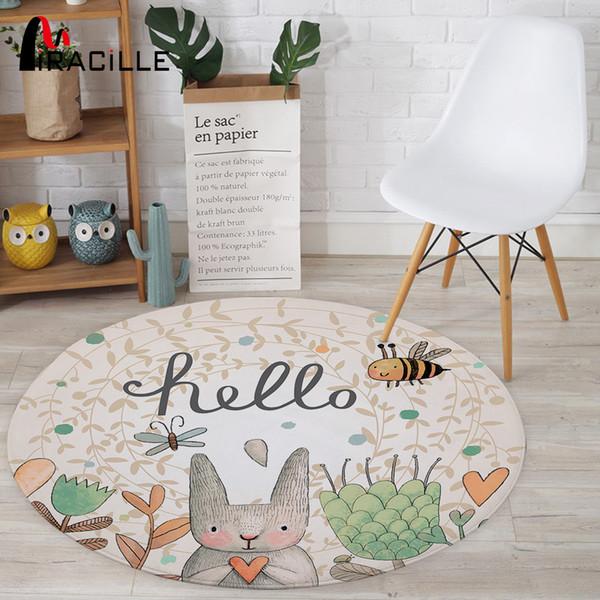 Großhandel Miracille Cartoon Kaninchen Gedruckt Runder Teppich Für  Wohnzimmer Computer Stuhl Bereich Teppich Kinder Spielen Zelt Bodenmatte  Garderobe ...