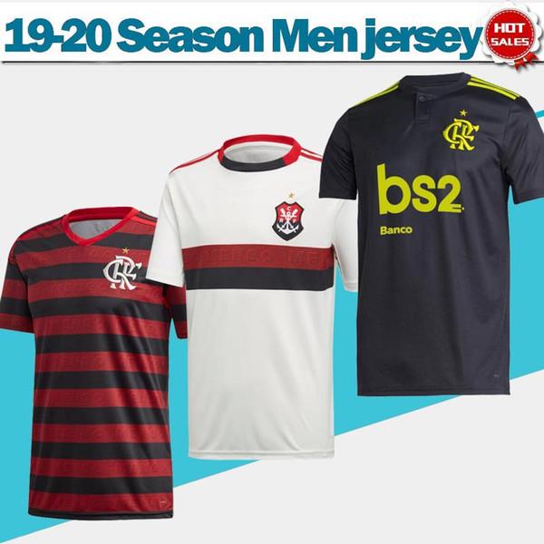Flamengo nach Hause rot schwarz Fußball Trikot 2020 weg weiß Fußball Trikot 19/20 dritte schwarz Customized # 10 DIEGO # 9 GUERRERO Fußball-Uniformen