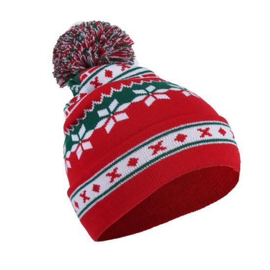 21.5*28cm Christmas Hat Kids Warm Elastic Women Snowflake Striped Merry Christmas Knit Cap Kids Xmas Gifts Party Hats CCA10799 60pcs