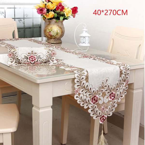 Home Covers Crafts Flower Polyester Elegant Table Runner Decor Table Cloth Embroidery