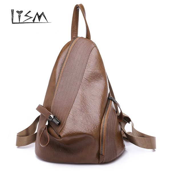 Brand New PU Leather Backpack Women School Bags For Teenager Girls Vintage Women Backpack Travel Fashion Brown Sac A Dos