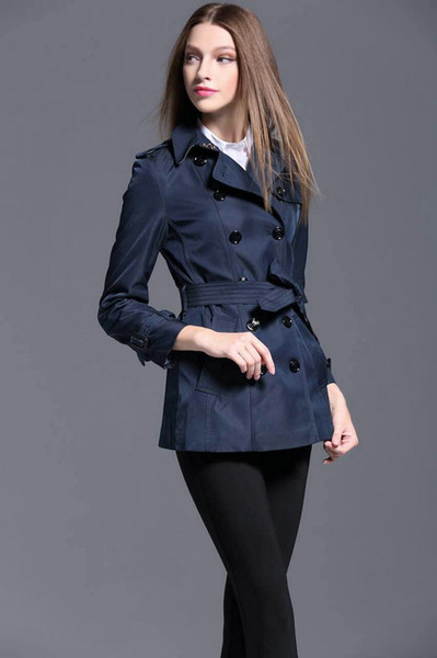 Global Women London Brit Short Trench Coats High Quality Cotton England Belt Solid Jacket Slim Fit British Brand Design Outwear S-XXL