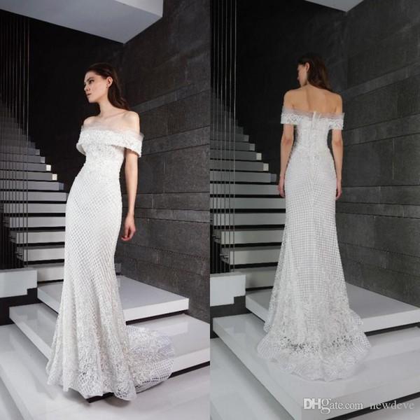 Tony Ward Wedding Dresses 2019 Sexy Off Shoulder Lace Appliques Boho Bridal Gowns Sweep Train Beach Mermaid Wedding Dress Vestidos De Noiva