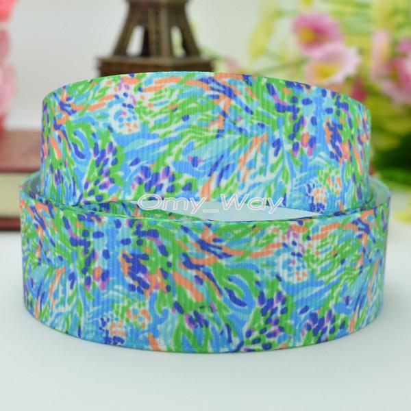 "Lilly Ribbons 7/8"" 22mm Printed Grosgrain Ribbon Hair Bow DIY Handmade Crafts Ribbon Print 50Yards C-2440"