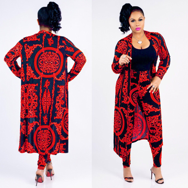 classic black gold print large size cloak sexy slim pants ladies set Designer new fashion -y