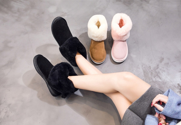 2019 Newest Loving Snow Boots Real Wool Leather Casual Shoes Winter Fashion Lovely Small Tail Square Toes Shoes Flat Heel Bottom Ankle Boots