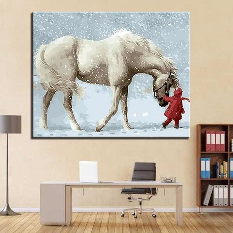 Free Shipping,Hand-painted & HD Print Snow Horse Animals Landscape Art oil painting On Canvas High Quality Home Deco Wall Art p420