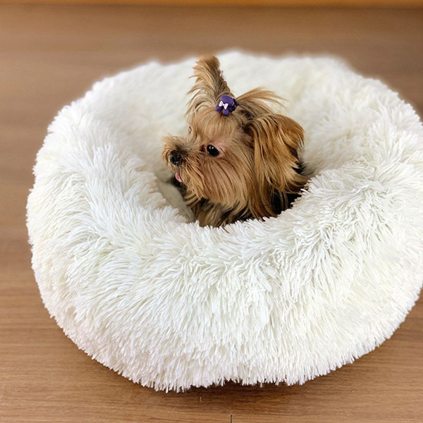 luxury fluffy pet bed for cats small dogs round plush cozy warming cat sofa bed