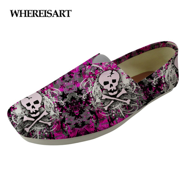 WHEREISART Fashion Skull Design Women Loafers Shoes Woman Casual Canvas Ladies Flats Shoes Light Comfortable Zapatos Mujer 2018