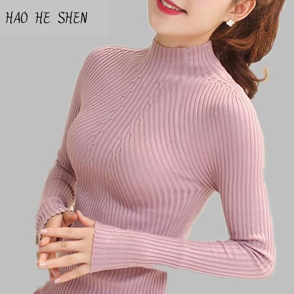 Il nuovo maglione delle donne di modo di primavera 2018 alto elastico solido maglione a collo alto donne sottili pullover lavorati a maglia stretti sexy stretti