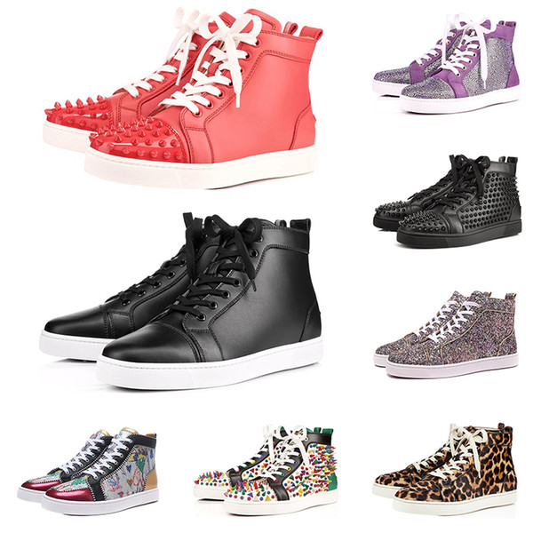 Tasarımcı Marka Kırmızı Alt Çivili Spike Flats ayakkabı Erkekler Kadınlar Için siyah beyaz mavi Parti Severler Hakiki Deri rahat Sneakers satışa