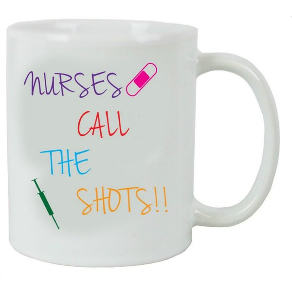 Mensuk Nurses Call the Shots 11 Oz White Ceramic Coffee Mug Great Gift for Nurses Week Graduations or Christmas Gift for Dad Mom Daughter So
