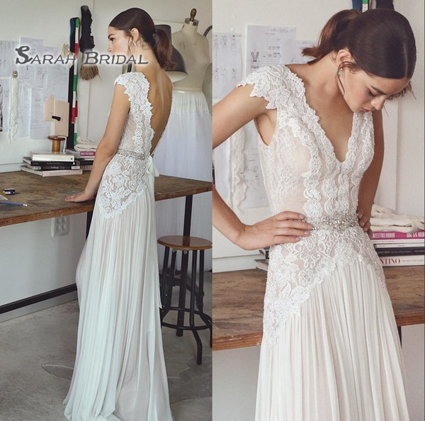 best selling 2019 Vintage Chiffon A-Line Boho Bride Dress Beach Sexy Short Sleeves Backless Evening Wear Formal Gown High-end Wedding Boutique