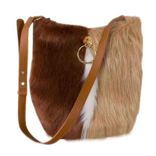 2019 Imitate Leather Faux Fur Hit Color Patchwork Zipper Single Shoulder Bag Crossbody Bags Clothing Accessories