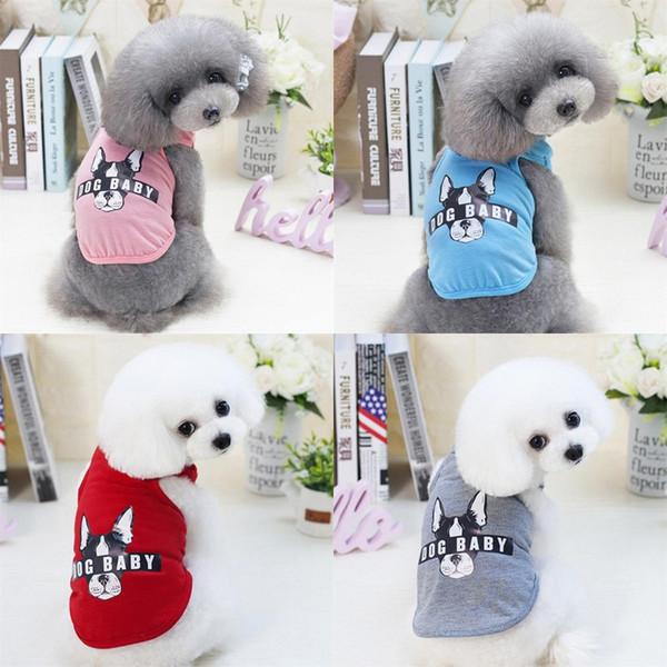 Dogbaby Letter Printed Dog Vest Pet Dog Stripe Vest Dog Cat Cotton T Shirt Cute Summer Clothes