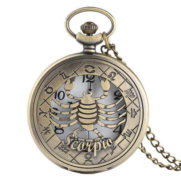 Pocket Watch, Vintage Bronze Quartz Pocket Watch Hollow Scorpio Case Unique Gift for Men