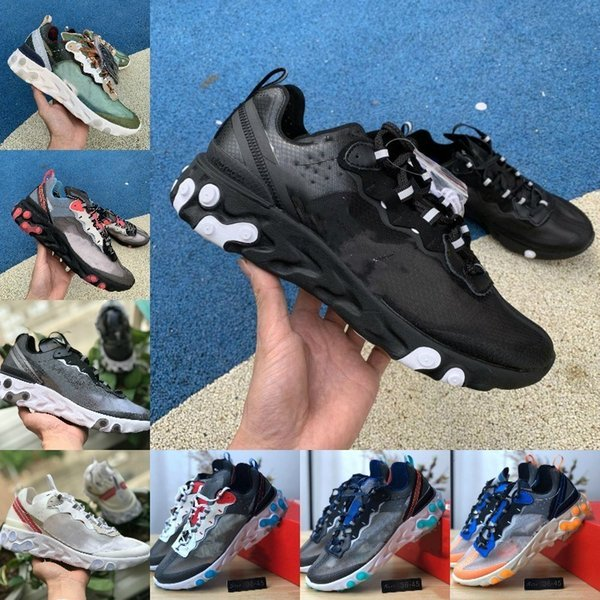Wholesale 2019 React Element 87 Running Shoes For Men Women White Black NEPTUNE GREEN Blue Mens Trainer Design Breathable Sports Sneakers