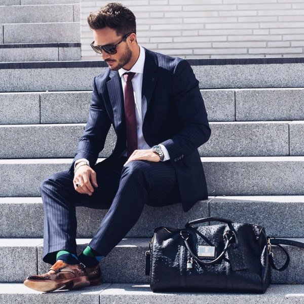 Men Suits 2018 Slim Fit Black Stripe Suits Business Tuxedo Blazer Custom Formal 3 Piece Traje Hombre Wedding For Men