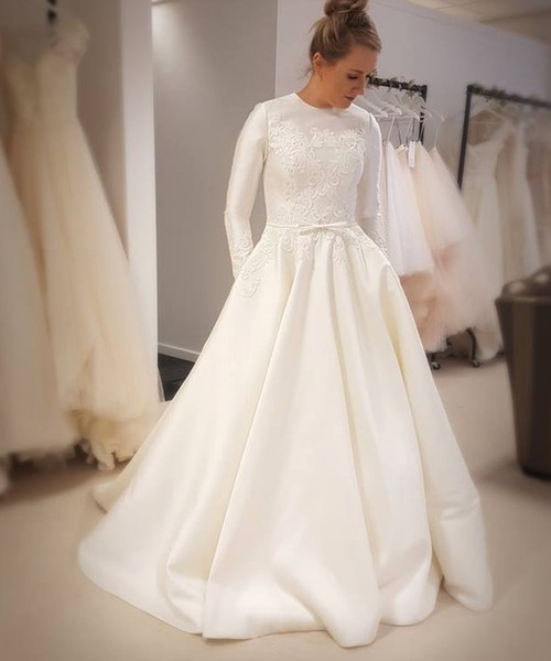 2019 New A-line Satin Muslim Modest Wedding Dress With Long Sleeves Lace Appliques High Jewel Neck Modest Bridal Gown With Pockets