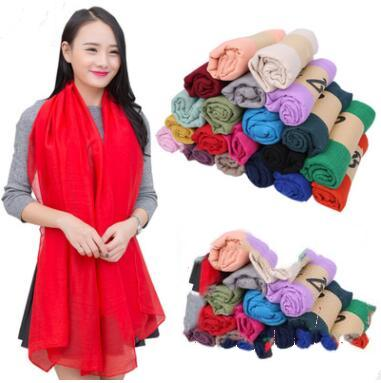 best selling Girls Solid Sarong Scarves Plain Beach Silk Scarf Long Sunscreen Shawl Cotton Linen Soft Wraps Girls HeadScarf 38 Colors 180*100cm D28