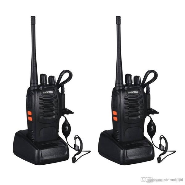 Talkie-walkie rechargeable noir d'émetteur-récepteur FM 400-470MHz bidirectionnel pour la prise 16 de Baofeng BF-888S UE 3KM