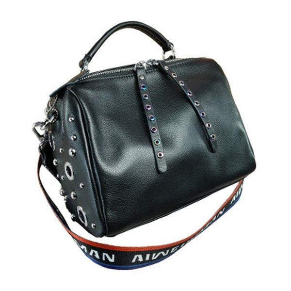 2019 новая мода из натуральной кожи тканые пропускная способность плеча сумка красочные заклепки корейской версии Бостона сумка