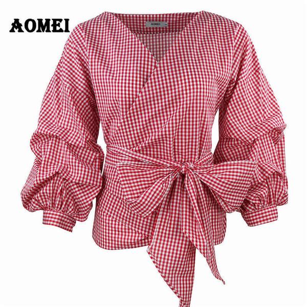 Las mujeres rojo guinga Peplum Tops blanco 3/4 manga de soplo blusa a cuadros con cuello en v camisas de verano de señora ropa femenina blusas pajarita T190611