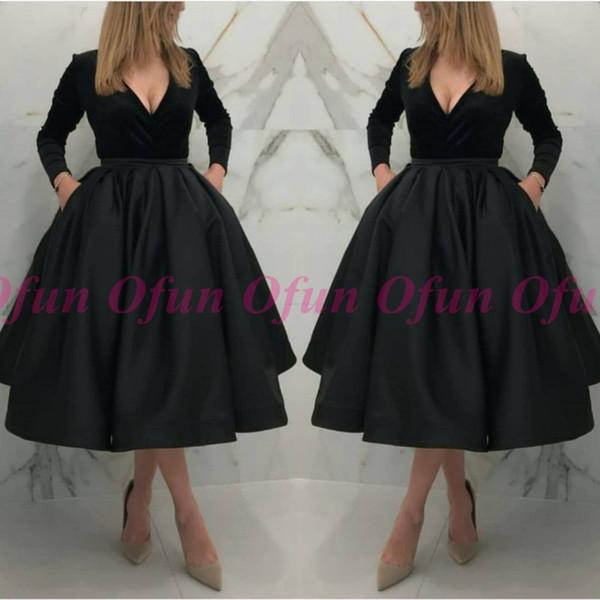 Graceful Black A Line V-Ausschnitt Cocktailkleid Langarm Satin Tee Länge Short Prom Party Kleider Einfache Homecoming Kleider