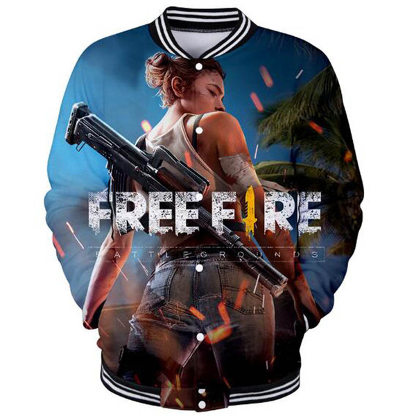 2019 2019 Hot Sale Game Free Fire 3d Print Fashion Baseball Jacket Menwomen Casual Funny College Anime Hip Hop Baseball Jacket Clothing From