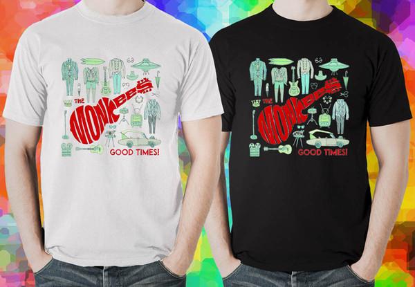 Das Schwarzweiss-T-Shirt der Monkees-guten Zeit-Männer (XS-3XL) Lustige freie zufällige Unisexspitze des freien Verschiffens
