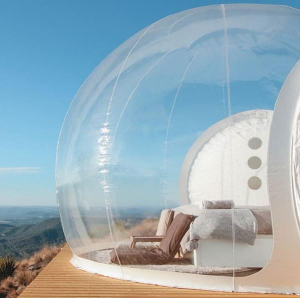 Tienda de burbujas inflable transparente con túnel EN VENTA Fabricante de China, carpas inflables para ferias, carpa de jardín inflable