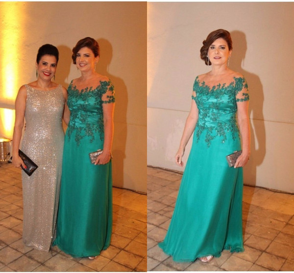 Green Mother of the Bride Dresses for Weddings Scoop Lace Crystal Pleat Plus Size Mother off The Groom wedding guest Evening Gowns Wear