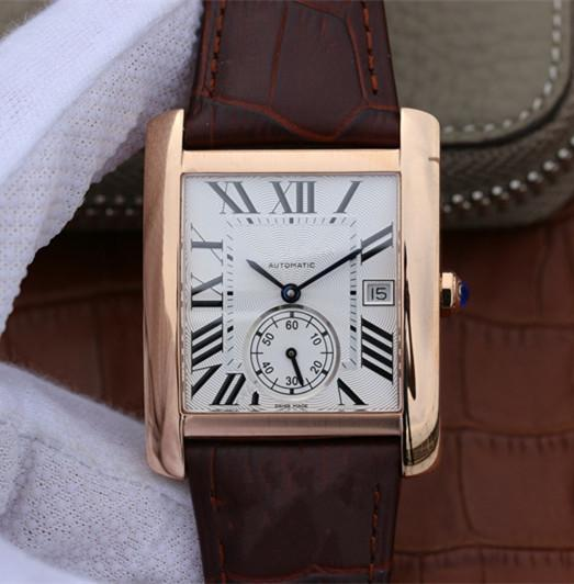 High Quality New Mens White dial W5330001 Fashion Luxury Automatic brown Leather stainless steel case Watch + with box