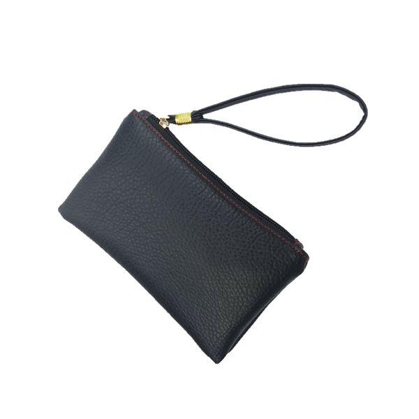 2019 New Fashion Mini Wristlet Handbag Solid Men Women Key Wallet PU Leather Handy Bag Zipper Clutch Coin Purse Phone Holder