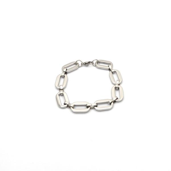 2019 simple para hombre pulsera de cadena pulida acero inoxidable color plata cadenas pulsera para hombres mujeres Br03211