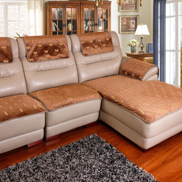2019 European Sofa Cushion Embroidered Non Slip Leather Sofa Cushion Four  Seasons Plush Slipcover Chaise Lounge Sofa Cover Customize SH190814 From ...