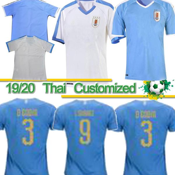 Maglia da calcio 2019 Copa America Uruguay Thai 2019 19/20 Home 9 L.suarez 21 Maglia da calcio E.cavani # 3 D.GODIN Uniformi Calcio Nazionale