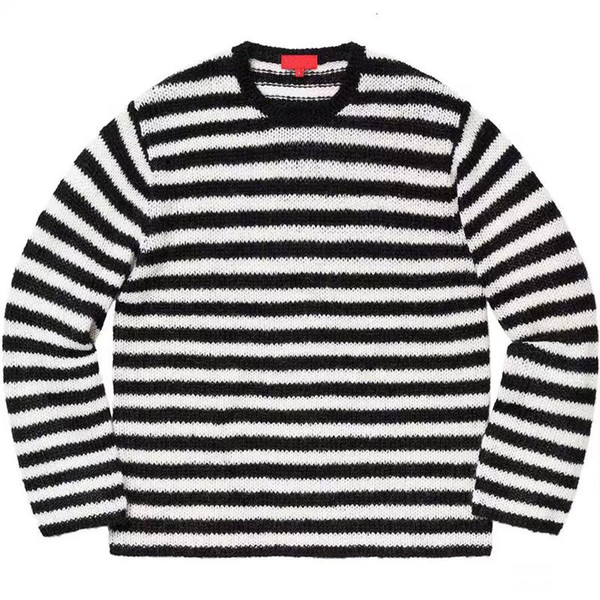 19FW BOX LOGO Black White Stripes Color Stripes Crewneck Sweaters Hip Hop Skateboard Sweaters Men Women Couple Casual Street HFHLMY003