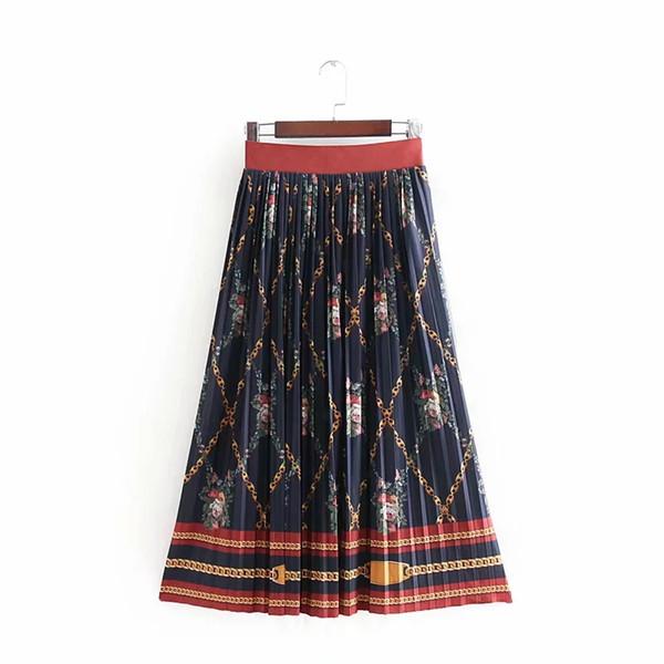shengui / Cadena de impresión retro mujeres falda plisada señora ocasional faldas sueltas moda streetwear falda de cintura alta P719