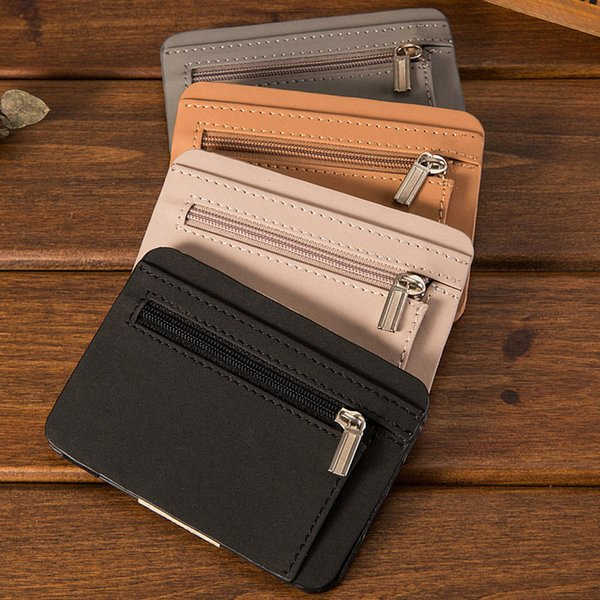 Mens Business Leather Wallet Bifold Card Holder Zipper Wallet Id Ultrathin Credit Card Pockets High Quality Cheap Coin Bags