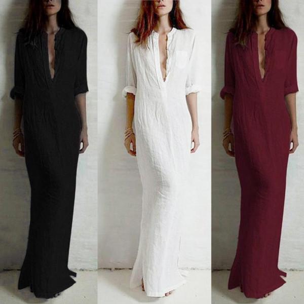 Новая мода 2017 женская сексуальная повседневная с длинным рукавом V-образным вырезом Solid Long Maxi Dress vestido longo Boho Boho beach dresses robe