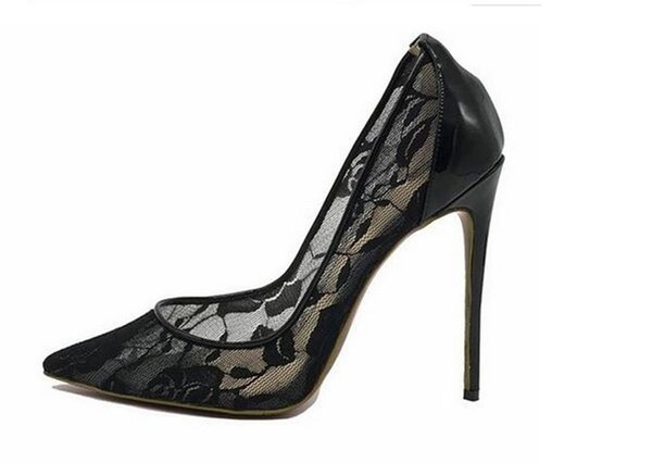 NEW Free Shipping fashion woman women lady 2018 black leather lace mesh High Heels Shoes Pumps Poined Toes Stiletto Heels shoes Stiletto
