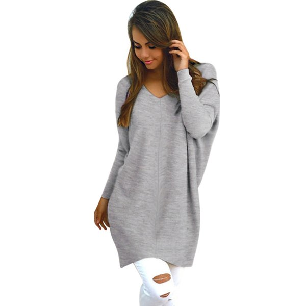 2019 Women Oversized Sweaters Dress Knitted Pullovers Winter V-neck Coats Long Sleeve Thick Jumper Loose Tops Mujer Warm Knits