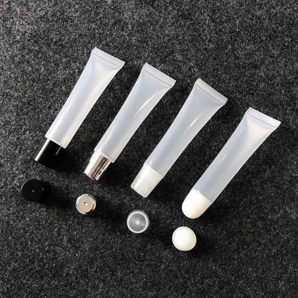 8g 15g Tubo de barra de labios vacío, bálsamo labial, manguera suave, subenvasado de exprimido de maquillaje, envase de plástico transparente para brillo de labios F606