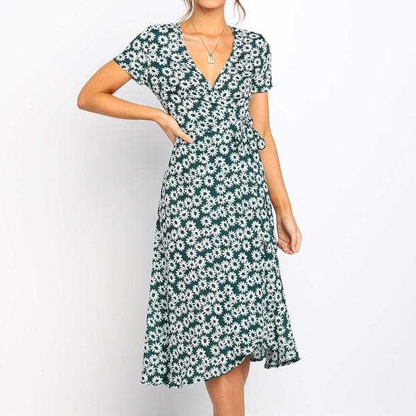 Женщины лето длинное платье 2019 бохо стиль цветочный принт пляж платье с коротким рукавом элегантный партия Bodycon сарафан Vestidos XXL